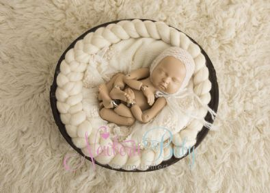 Dark Vintage Wooden Bowl Photography Prop | Newborn Baby Posing Ltd